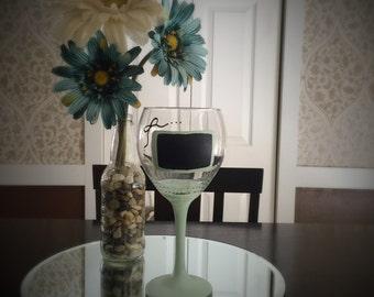 Sea Foam Chalkboard Wine Glass