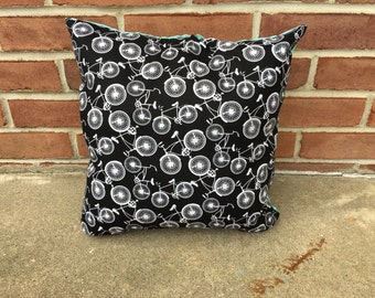 Bicycle Black and Blue Pillow