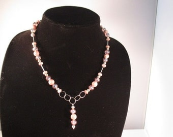 Necklace. Semi Precious Gem Stones. Sterling Silver. Crystal Beads.