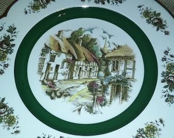 Vintage Ascot service plate by Woods and Son , antique wall decor, English village