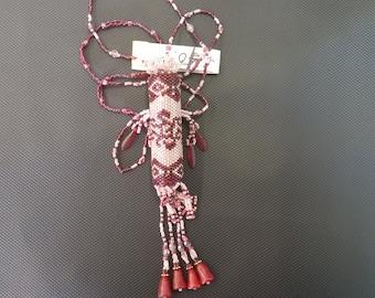 Handmade beaded necklace / needle case