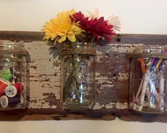 Antique Barn Wood Mason Jar Organizer (Quart Sized)