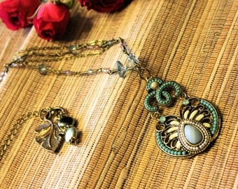 Delicate Vintage-Look Bronze and Turquoise Necklace for your Valentine!  Valentine's Day Sale!  15% off Entire Shop!