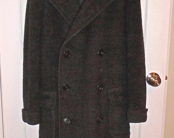 Price Lowered 1930's Mens Double Breasted Heavy Belt Back Overcoat size 42