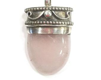 Rose Quartz Tibetan Sterling Silver Pendant