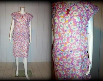 Retro 80's Flouncy Floral Dress, Ruffled Short Sleeves, Drop Waist, Sash Bow at Hip, Jody California