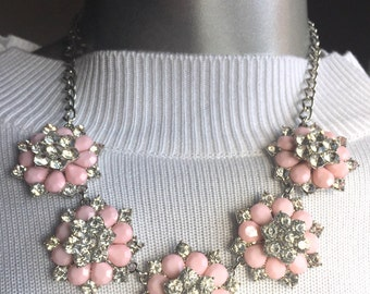 Silver Metal Pink Flower Necklace With Faux Crystals