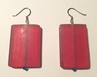 Red rectangle frosted Sea Glass Earrings