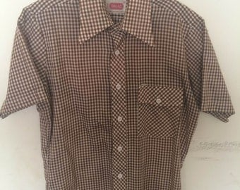 Vintage Brown Plaid Western Shirt 60's or 70's Bread