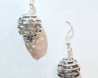 Intricate Silver Wire Ball Earrings