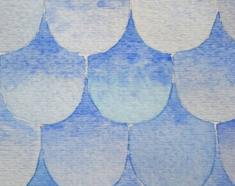 Blue Watercolor Fish Scale Painting