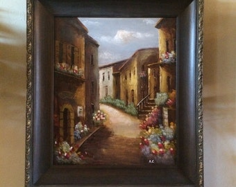 "Framed Tuscan Villa Oil Painting 18"" x 24"""