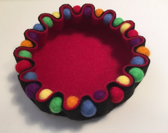 Colorful Felted Bowl with Felt Beads