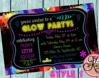 Neon Glow Party Printable Invitations