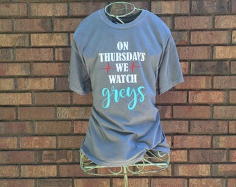 On Thursdays we watch greys comfort colors tshirt (adult)