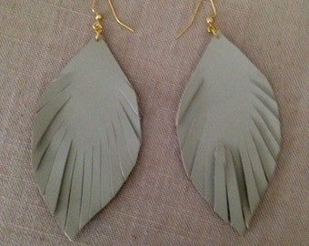 Grey Leather Feather Earrings