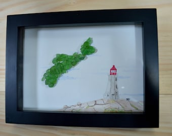 Nova Scotia Sea Glass Map, Watercolour Original Painting