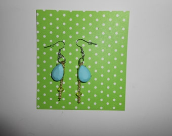 Light blue tear drop dangle earrings