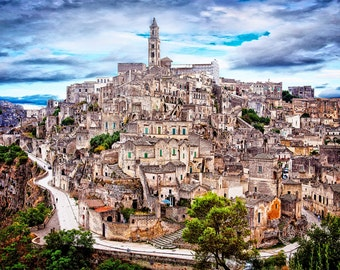 Matera Italy, Hilltowns  Of Italy, Ancient Village, Matera Village, Matera Photograph, Matera Wall Art, Matera Italy Print, Art Print