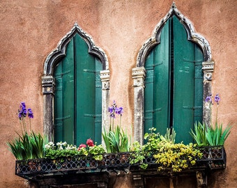 Old Windows Venice Italy, Gothic Style, Green Shutters, Flower Boxes, Coral Colored Facade. Wall Decor