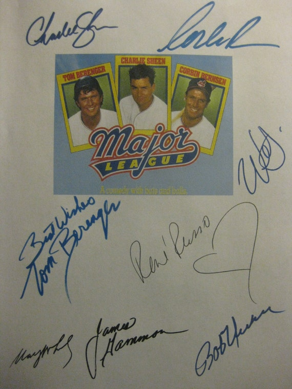 Major League Signed Film Movie Screenplay Script Autograph Charlie Sheen Tom Berenger Rene Russo Corbin Bernsen James Gammon Wesley Snipes