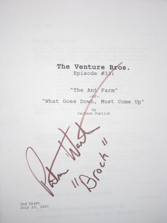 The Venture Brothers Signed TV Script Screenplay Autograph Signature Pat Warburton Cartoon