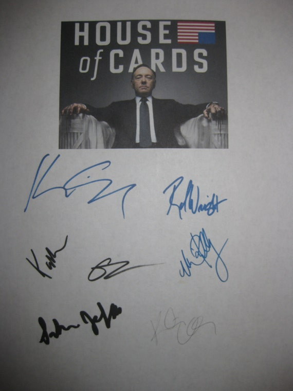 House of Cards signed TV Script Screenplay Autographs X7 Kevin Spacey Robin Wright Kate Mara Corey Stoll Michael Kelly  Kristen Connolly