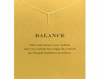 balance vertical bar pendant necklace, 14K gold plated,Charm Necklace
