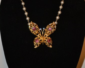 Butterfly, gold metal, enamel and pearl pendant/necklace  (#68)
