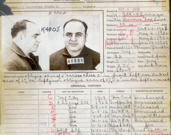 Al Capone - Criminal Record - Rare - History - Vintage - Photograph - Print - Photo - Photography - Mafia - Chicago - Mobster - Prohibition
