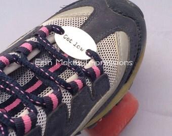 Roller derby skate tags, roller skate charms, motivational roller derby, get low, custom shoe charms,  roller derby accessories