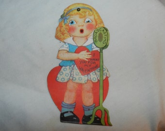I Want you for My Valentine - Vintage Mechanical Greeting card with moving eyes - Collectible Ephemera - Girl Broadcasting her Love     2-30