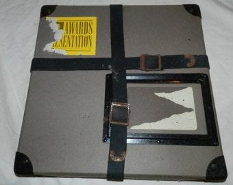 "Vintage 16mm Film reel mailing box / Mailer - cardboard + metal - 13.25"" X 13.25""                                                        S-1"