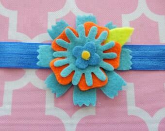 Blue and Orange Felt Flower Headband