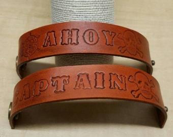 Handmade leather wrist cuffs bracelets child size custom options