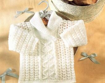 Aran Baby Sweater Crochet & Knitting Pattern. PDF Instant Download.