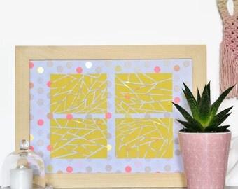 Poster graphic-Paper Cut-a4-design-pastel-moderne-cadeau-geometrique-papier carved hand-yellow-Rectangles