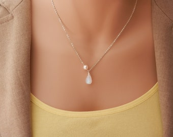 large moonstone pendant necklace-Moonstone Necklace-Wire Wrapped Pendant-moonstone Pendant-Genuine Moonstone Necklace-moonstone jewelry