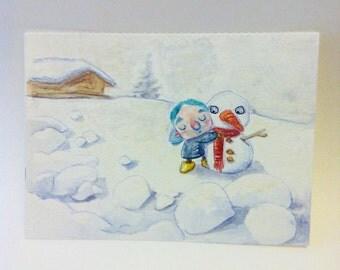Small original watercolor - Illustration - painting - snow