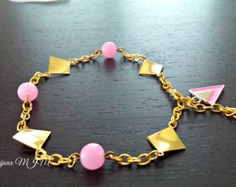 Anklet, gold metal, color rose gold, cat