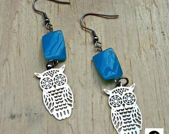 Earrings, hypoallergenic, pressed glass, blue, owls