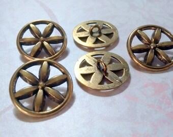 Gold Metal Flower Wheel Shank Buttons 28mm Set of 5 Destash Lot - Inv #12