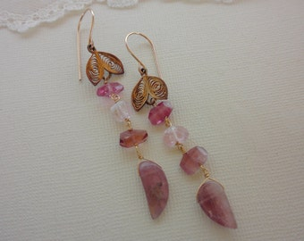 Pink tourmaline vintage vermeil earrings