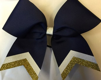 Custom Grosgrain Cheer Bow with Glitter Tails