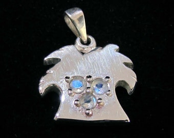 Sterling silver Palm tree pendant with 3 blue fire Moonstone gemstones