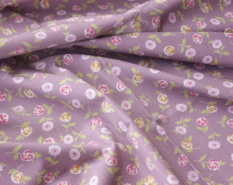 Quilting Fabric, Cotton Fabric, Floral Fabric, Pretty Little Floral, Violet, Purple, Cute, Vintage, Half Meter