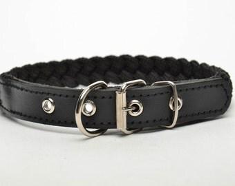 Handmade black dog collar