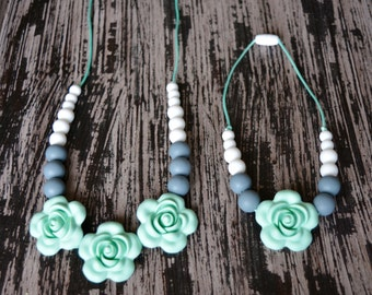 Mommy and Me Silicone Teething Necklace Set, Mint and Gray Baby Teething Necklace, Flower Beads, Chew Beads, BPA free, Baby Shower Gift