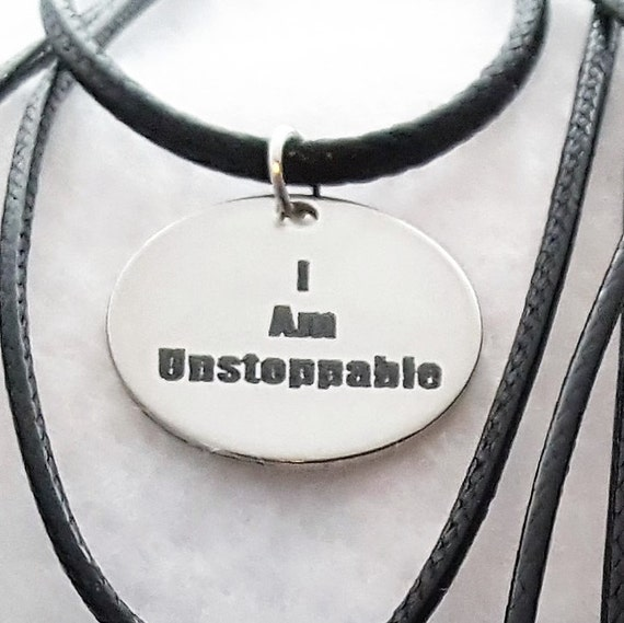 CrossFit Necklace, Fitness Gift, Gifts for Runner Team Coach, Motivational Running Quotes, Word Charms, I am UNSTOPPABLE Charm Necklace