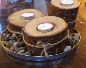 Candle Holders from Tree Branches (set of 3 with base and accent rocks)